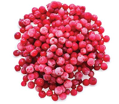 frozen cranberries isolated on white background